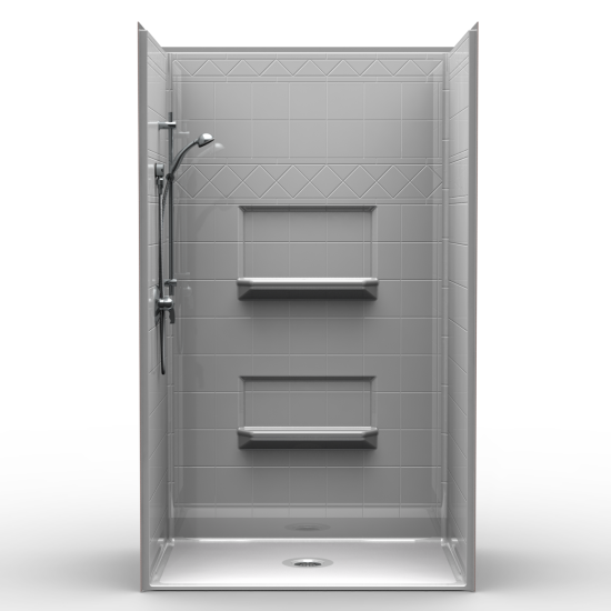 """5 -Piece Diamond Tile Barrier Free Shower with 3/4″ Beveled """"B"""" Threshold and Center Drain"""